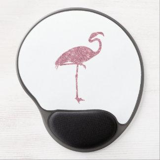 Pink Flamingo Faux Glitter Flamingos Tropical Gel Mouse Pad