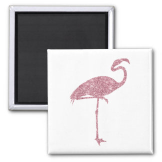 Pink Flamingo Faux Glitter Flamingos Tropical Square Magnet
