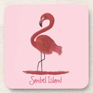 Pink Flamingo Fine Art Painting - Sanibel Island Coaster