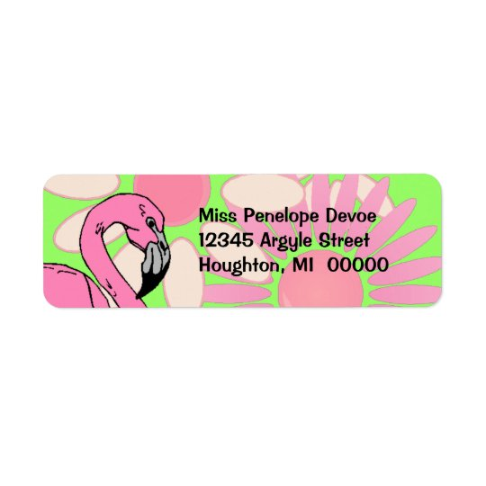 Pink Flamingo Flower Petal Camouflage Return Label