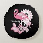 Pink Flamingo Girly Cute Personalised Black Round Cushion