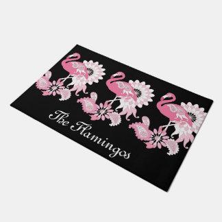 Pink Flamingo Girly Cute Personalized Black Doormat