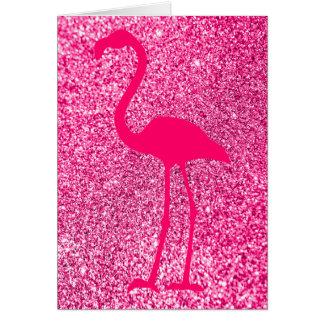 Pink Flamingo Glitter Happy Birthday Greeting Card