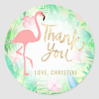 pink flamingo gold thank you classic round sticker