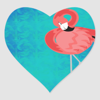 Pink Flamingo Heart Sticker