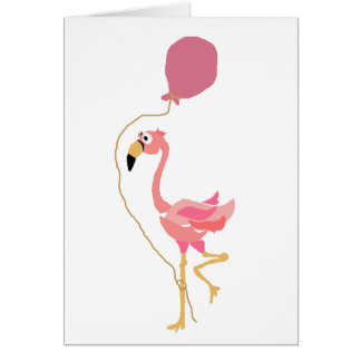 Pink Flamingo Holding Balloon Card