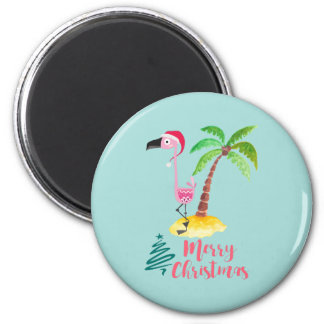 Pink Flamingo In A Santa Hat By A Palm Tree Xmas 6 Cm Round Magnet