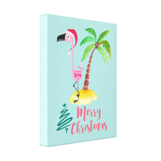 Pink Flamingo In A Santa Hat By A Palm Tree Xmas Canvas Print