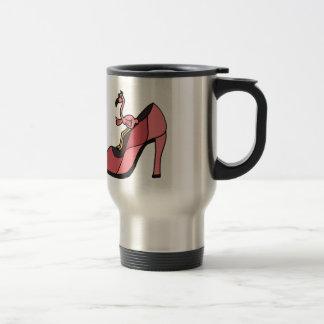 Pink Flamingo in a Shoe Design Travel Mug