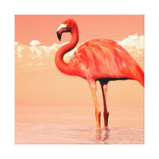 Pink flamingo in the water - 3D render Canvas Print