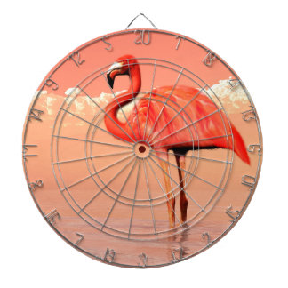 Pink flamingo in the water - 3D render Dartboard