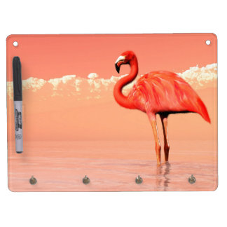 Pink flamingo in the water - 3D render Dry Erase Board With Key Ring Holder
