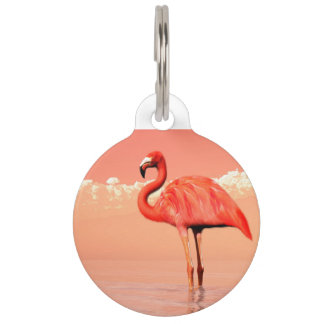 Pink flamingo in the water - 3D render Pet ID Tag