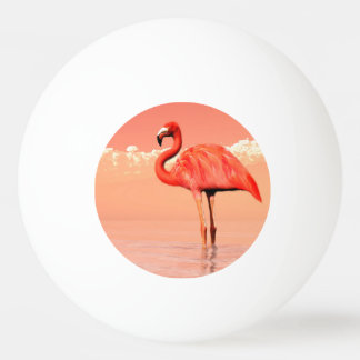 Pink flamingo in the water - 3D render Ping Pong Ball