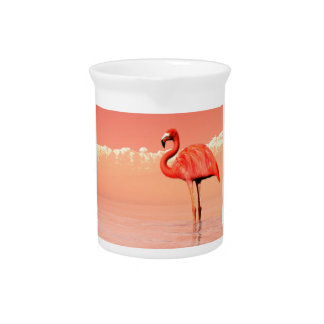 Pink flamingo in the water - 3D render Pitcher