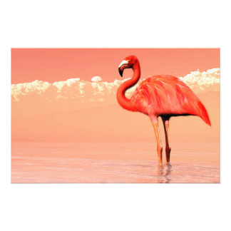 Pink flamingo in the water - 3D render Stationery