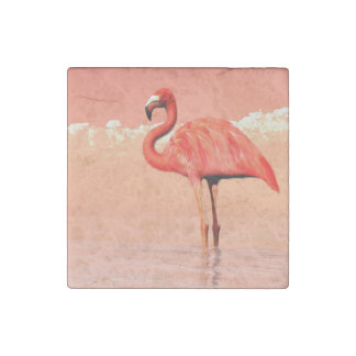Pink flamingo in the water - 3D render Stone Magnet