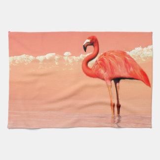 Pink flamingo in the water - 3D render Tea Towel