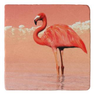 Pink flamingo in the water - 3D render Trivet