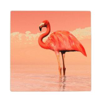 Pink flamingo in the water - 3D render Wood Coaster