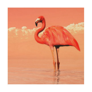 Pink flamingo in the water - 3D render Wood Wall Art