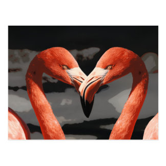 Pink Flamingo Love Heart Shape Valentines Day Postcard