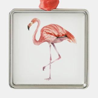 Pink Flamingo Metal Ornament