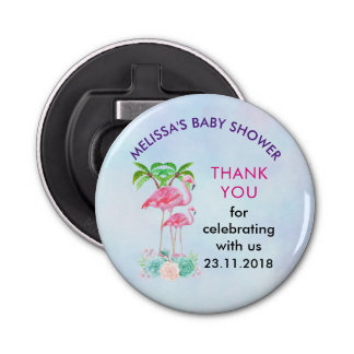 Pink Flamingo Momma & Baby with Palm Trees Bottle Opener