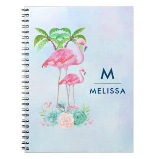 Pink Flamingo Momma & Baby with Palm Trees Custom Notebook