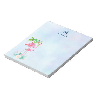 Pink Flamingo Momma & Baby with Palm Trees Notepad