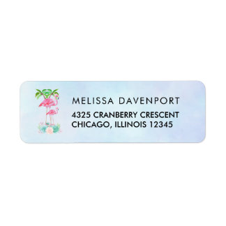 Pink Flamingo Momma & Baby with Palm Trees Return Address Label