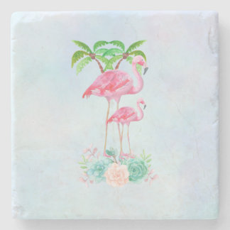 Pink Flamingo Momma & Baby with Palm Trees Stone Coaster