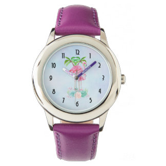 Pink Flamingo Momma & Baby with Palm Trees Watch