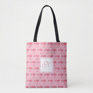 Pink Flamingo Monogram Tote Bag
