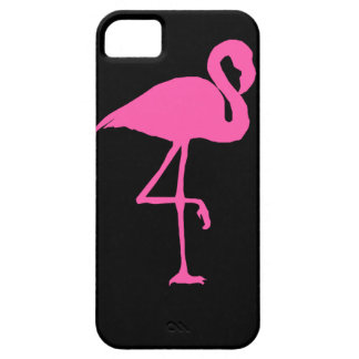 Pink Flamingo on Black Background Case For The iPhone 5