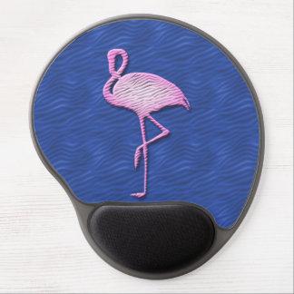 Pink flamingo on blue gel mouse mat