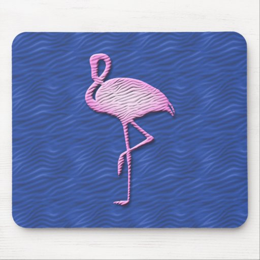 Pink flamingo on blue mouse pad