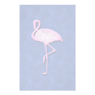Pink flamingo on blue personalized stationery