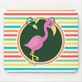 Pink Flamingo on Bright Rainbow Stripes Mouse Pads
