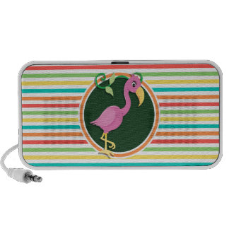 Pink Flamingo on Bright Rainbow Stripes iPhone Speakers