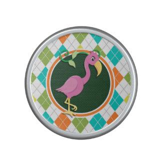 Pink Flamingo on Colorful Argyle Pattern Bluetooth Speaker