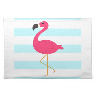 Pink Flamingo on Light Teal Stripes Cloth Placemat