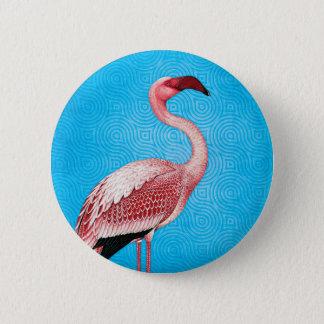 Pink Flamingo on Retro Blue Pattern 6 Cm Round Badge