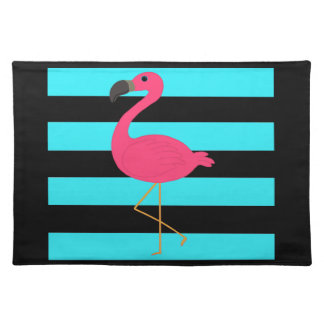 Pink Flamingo on Teal and Black Cloth Placemat