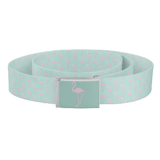 Pink Flamingo on Teal Seamless Pattern Belt