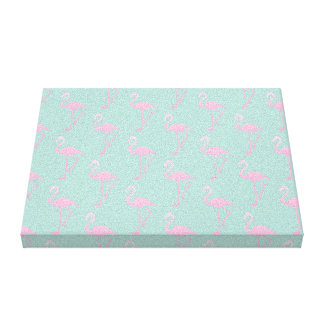 Pink Flamingo on Teal Seamless Pattern Canvas Print