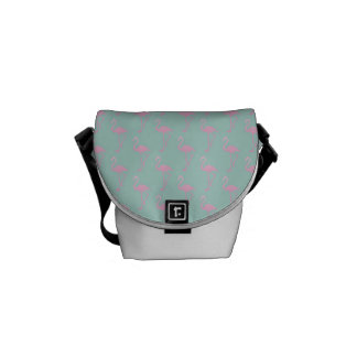 Pink Flamingo on Teal Seamless Pattern Commuter Bag