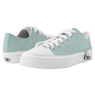 Pink Flamingo on Teal Seamless Pattern Low Tops