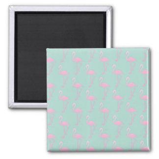 Pink Flamingo on Teal Seamless Pattern Magnet