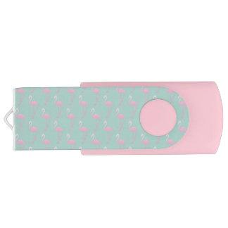 Pink Flamingo on Teal Seamless Pattern USB Flash Drive